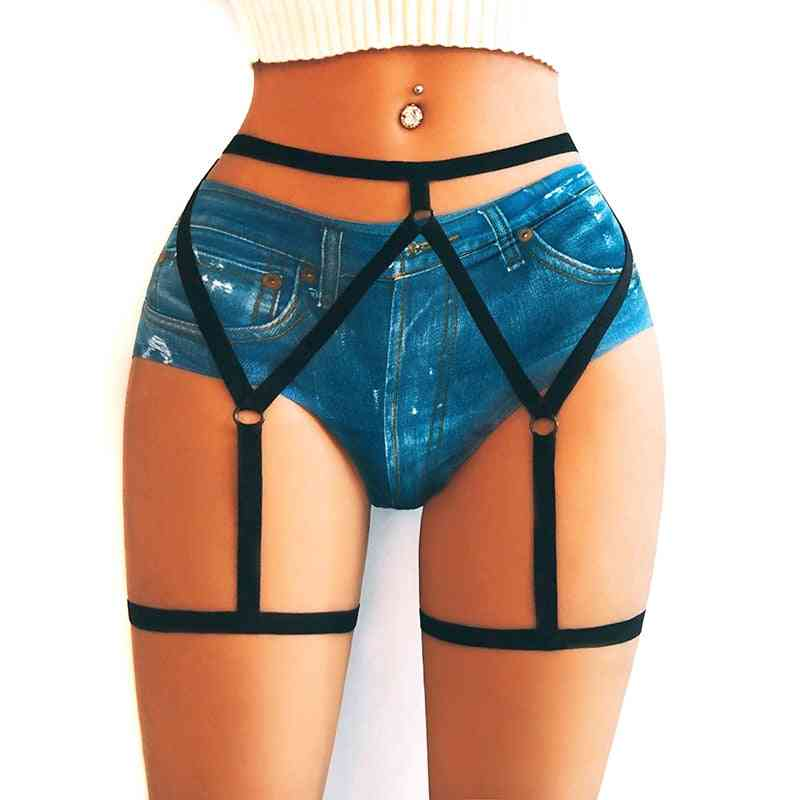 Women Elasticity Hearts Faux Leather Harness Tight Suspender Punk Strap Garter Belt