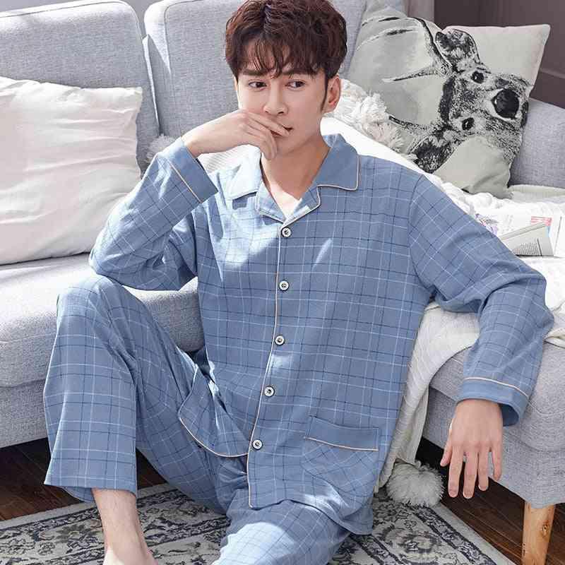 100% Cotton Lounge Sleepwear Plaid Bedgown Pure Cotton Pajamas Set