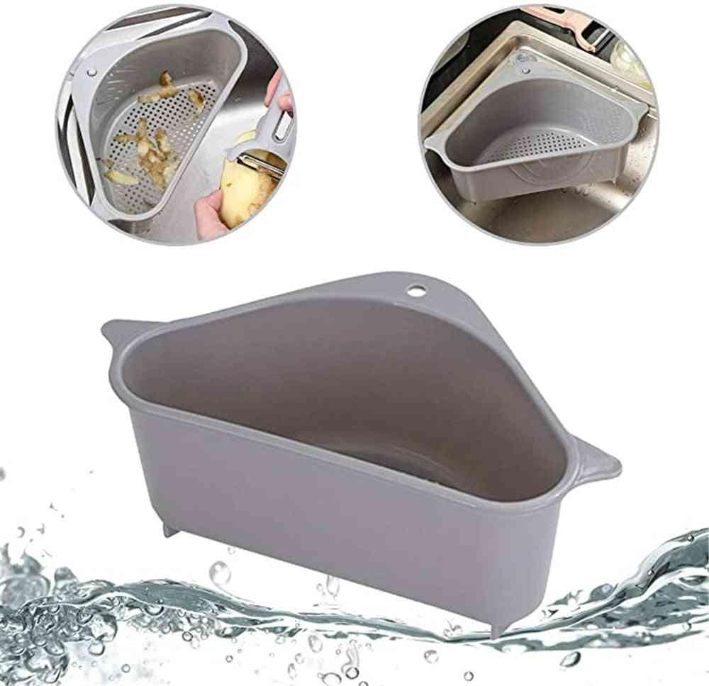 Kitchen Triangular Sink Strainer, Drain Fruit Vegetable Basket, Suction Cup Sponge Rack Storage