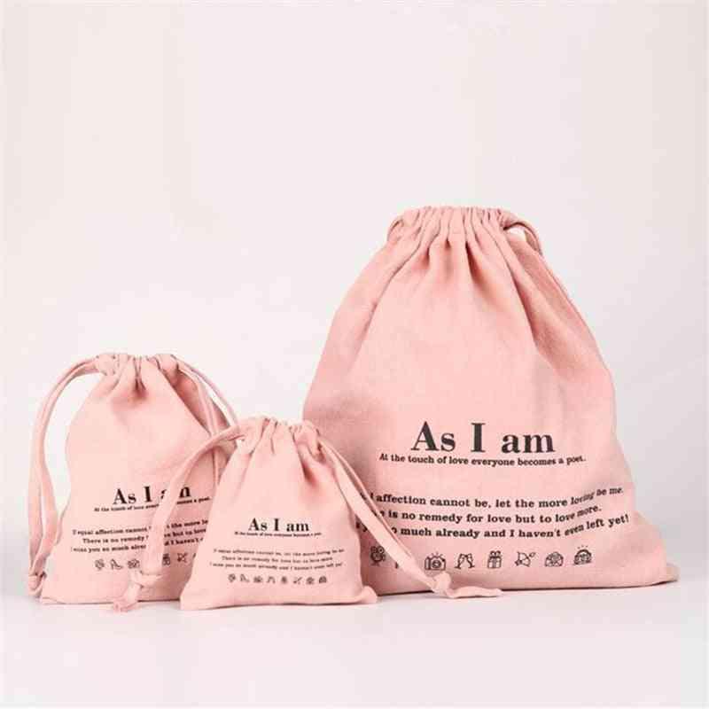Casual Tote- Reusable Cotton Drawstring, Food Packing Bag