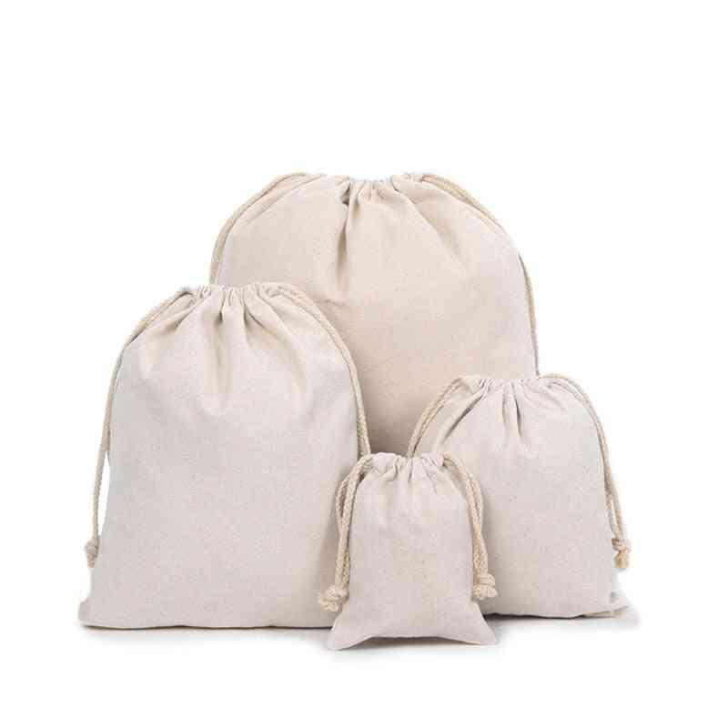 Cotton Linen- Drawstring Coin Purse, Small Cloth Pouch, Storage Bag