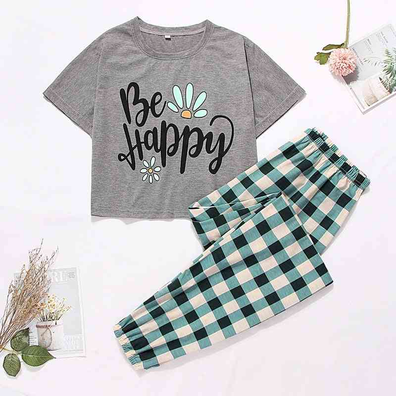 Summer- Cute Cartoon Print, Short T-shirts & Shorts Pajamas Set