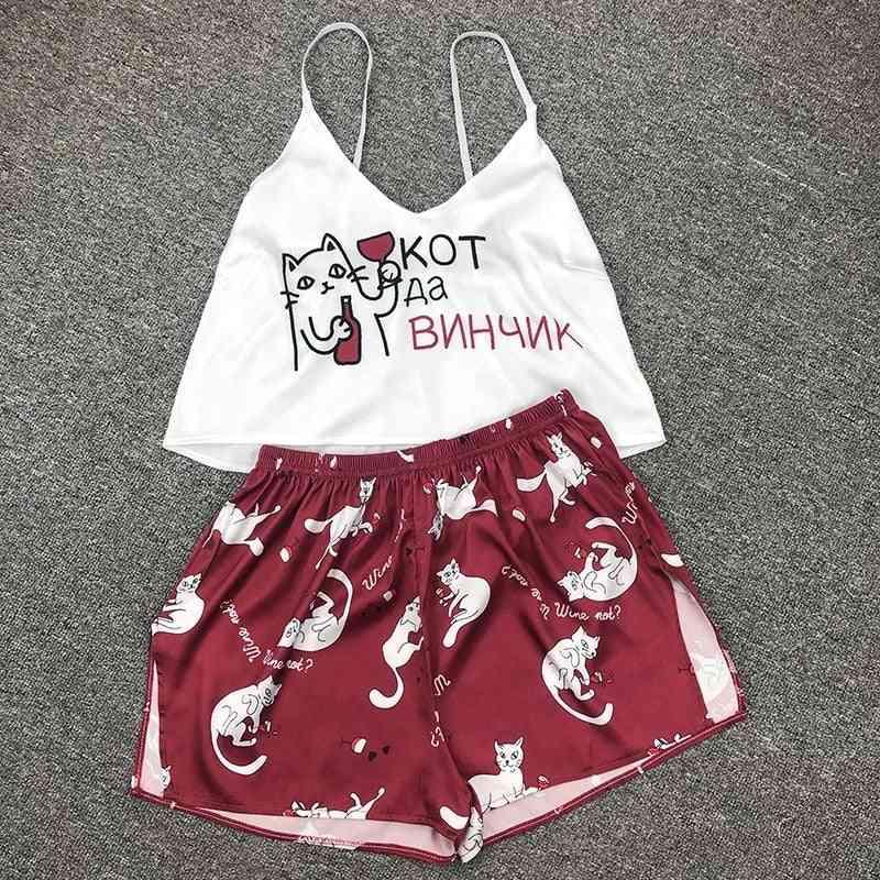 Summer- Silk Sleepwear Satin, Home Suit, Pajamas Set