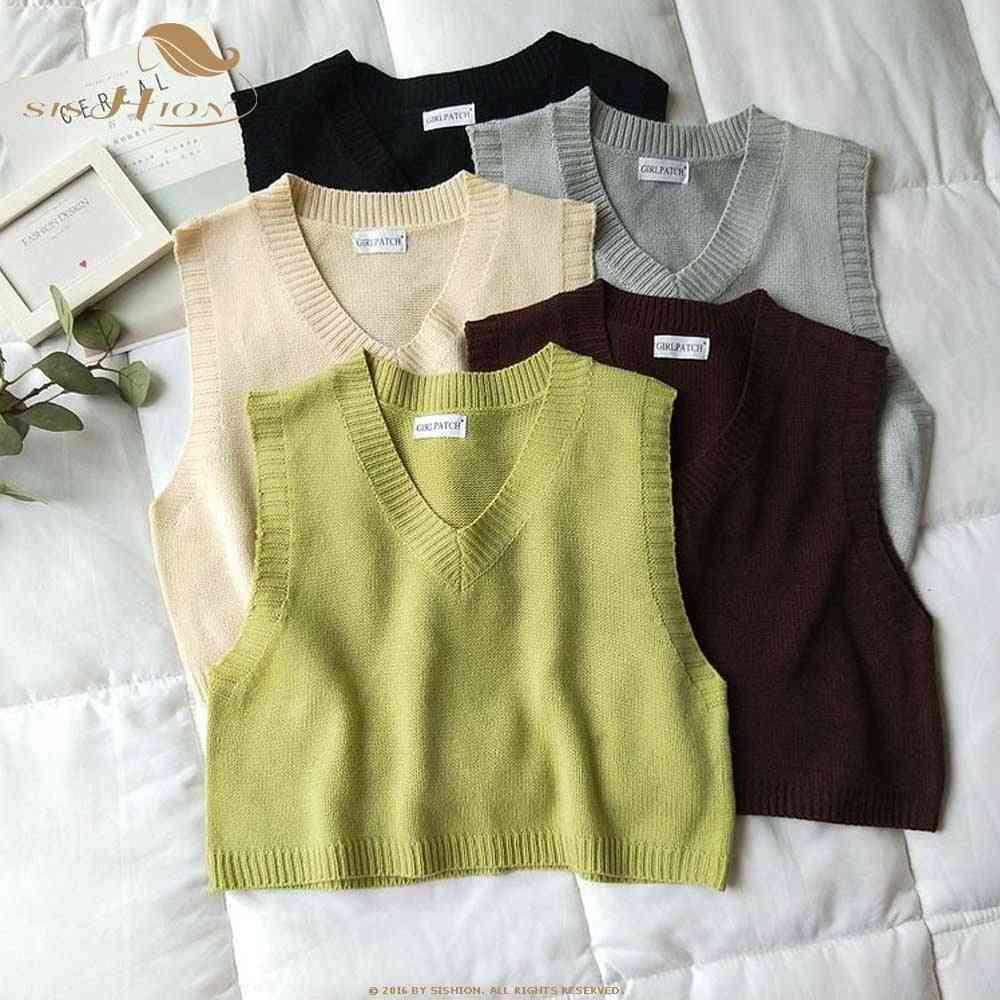 Spring, Autumn Vintage Sleeveless V-neck Knitted Vest Sweater, Women Solid Pullovers, Ladies Casual Tank Top