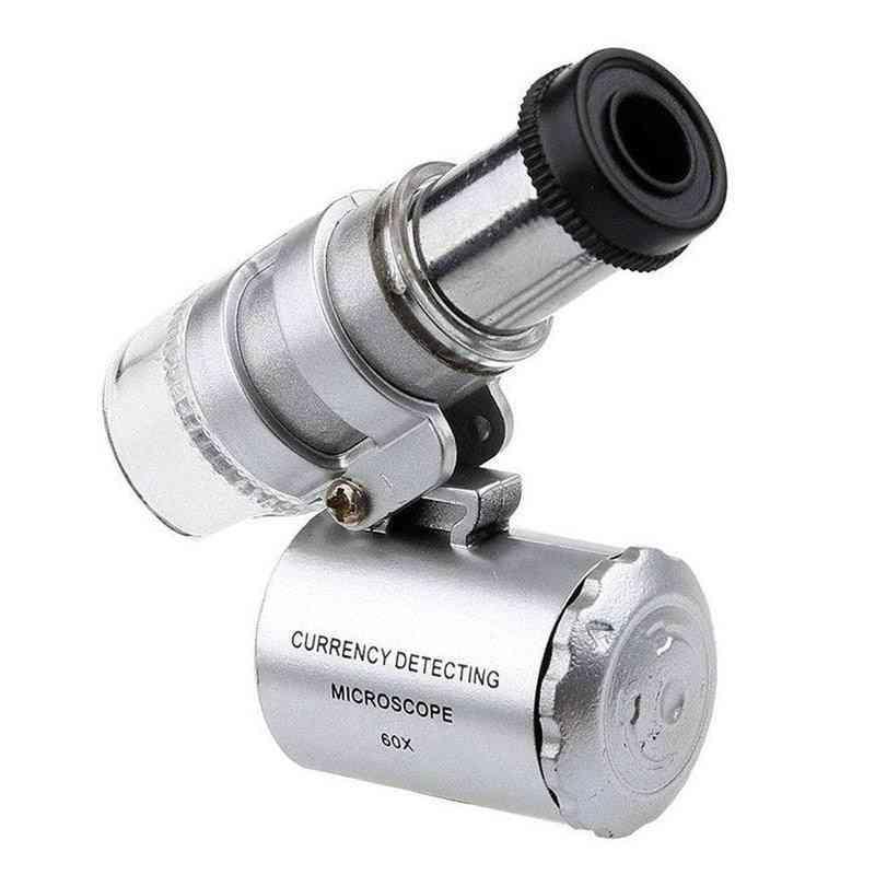 Mini 60x Microscope Led Jewelry Loupe Uv Currency Detector
