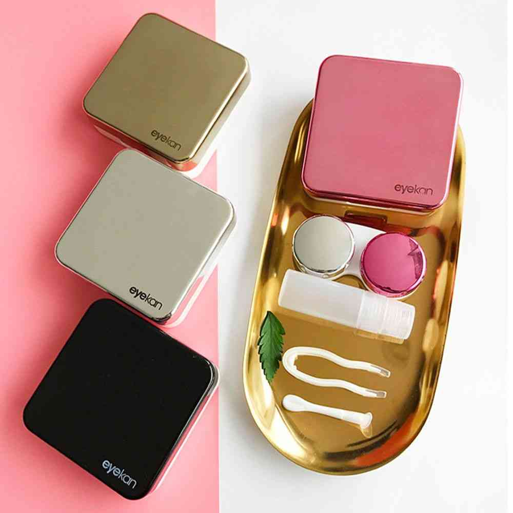 Colored Contact Lens Case With Mirror Lovely Travel Kit Box For Women