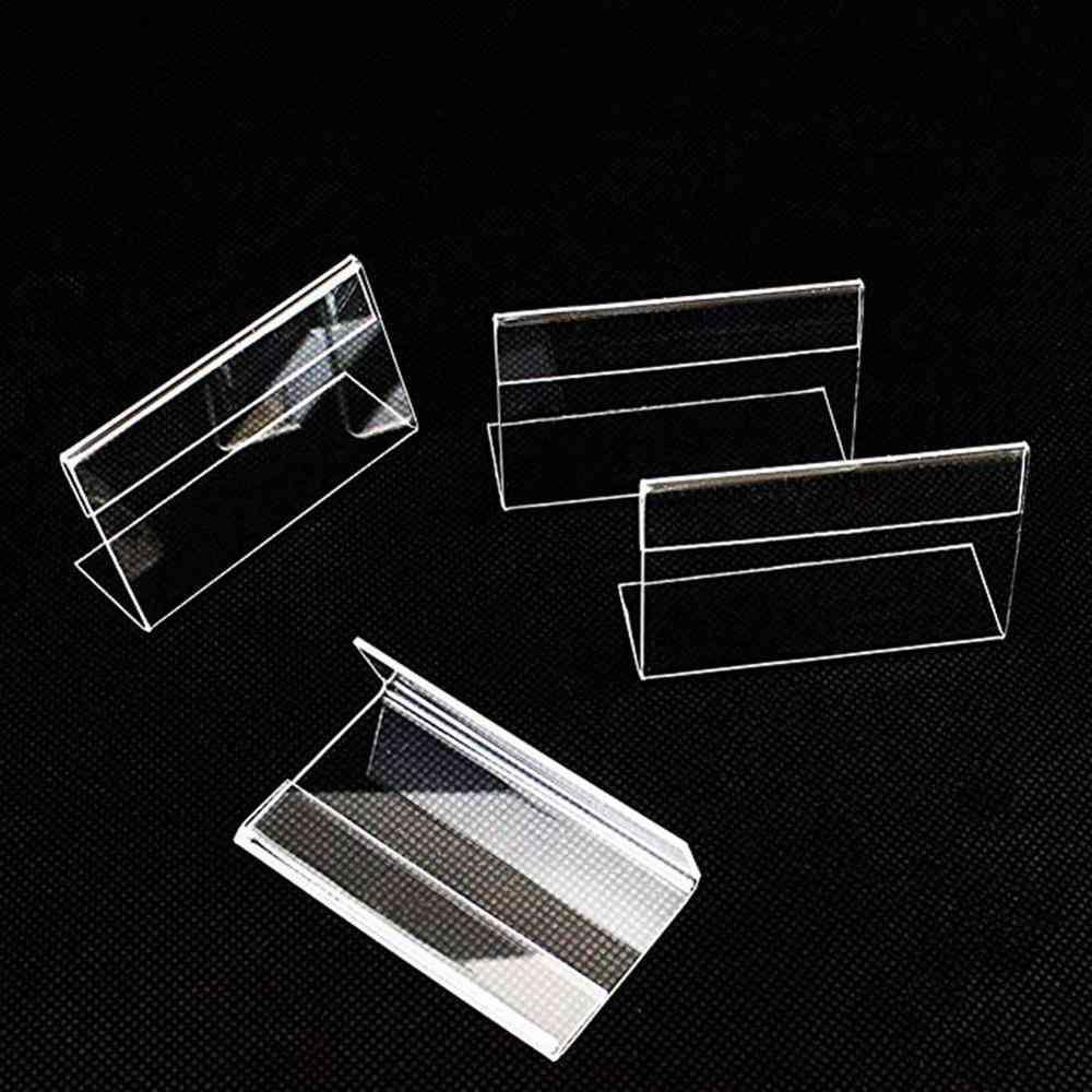 Clear Plastic Desk Sign Label Frame Display Paper Card Holders