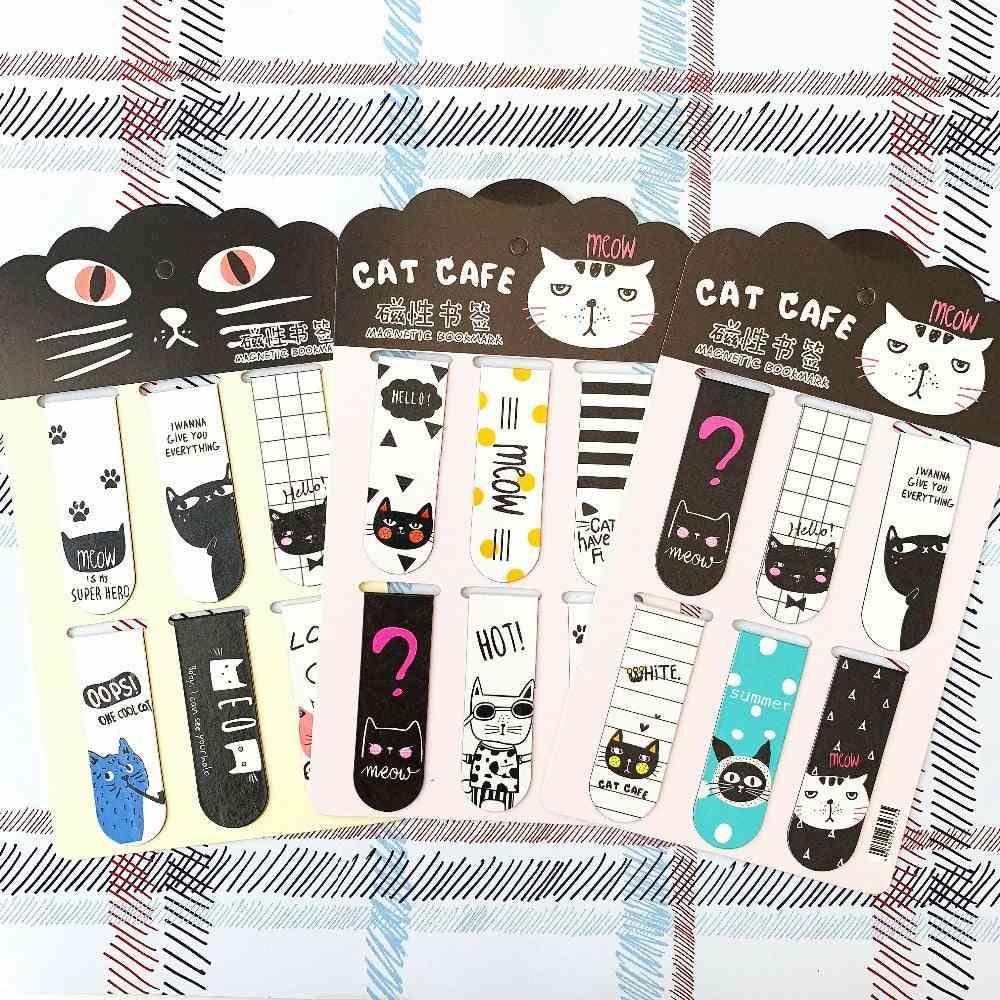 6pcs/set Of Oreo Cat Magnetic Bookmarks