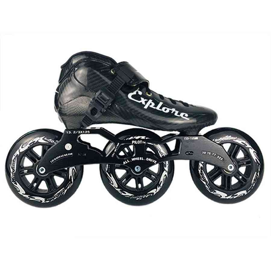 Eur Size 30-44 Speed Inline Skates Carbon Fiber Competition Skate 3*125mm Street Racing Skating Patines Similar With Powerslide