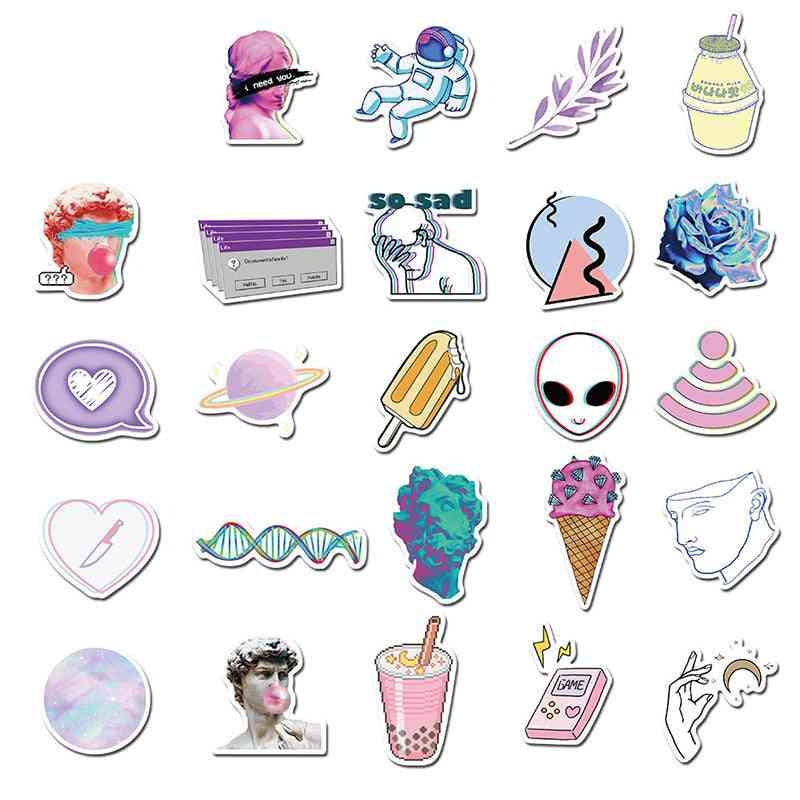 Vaporwave Art Style, Skateboard Luggage, Notebook Decals, Cartoon Stickers (10