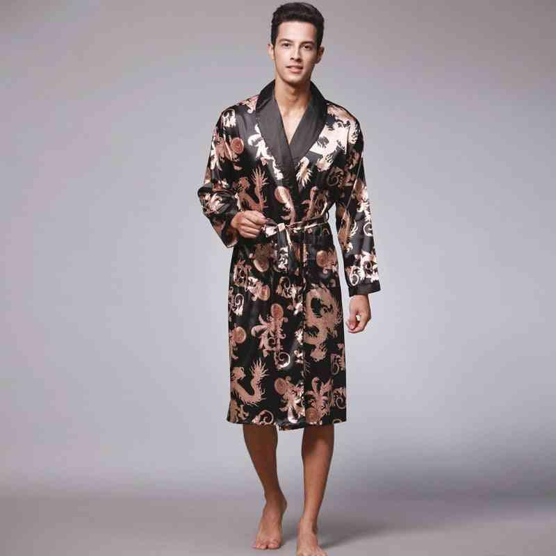 Summer/autumn- Satin Kimono, Knee Length, Long Sleeve, Bath Robe Gown