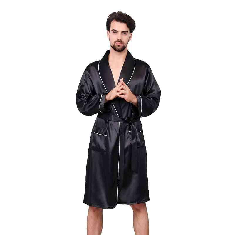 Luxury Designer Men's Silk Kimono Long Sleeve Sleepwear
