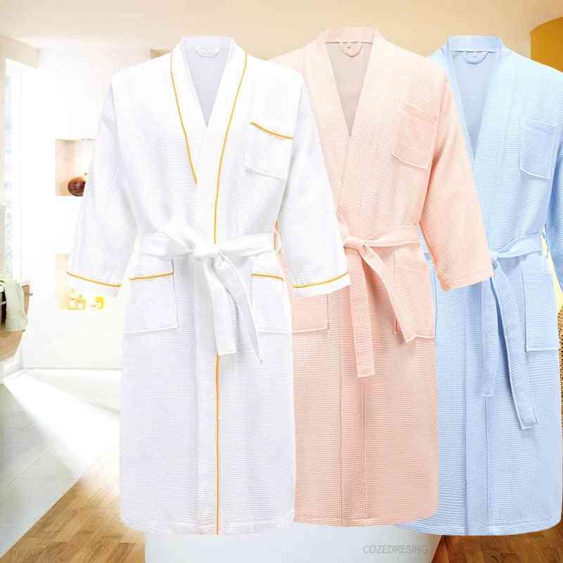 Cotton Men Kimono Bathrobe Towel, Women Long Dressing Gown Sleepwear