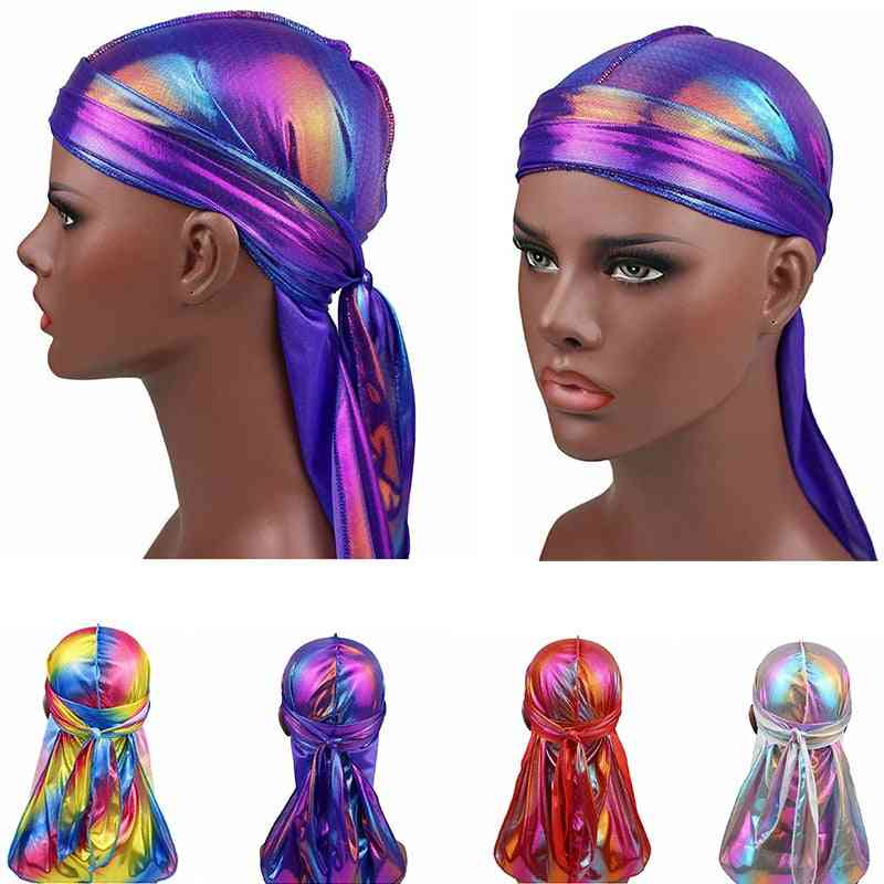 Men Sparkly Colorful Durags Turban Bandanas Headwear Silky Inside Wave Caps