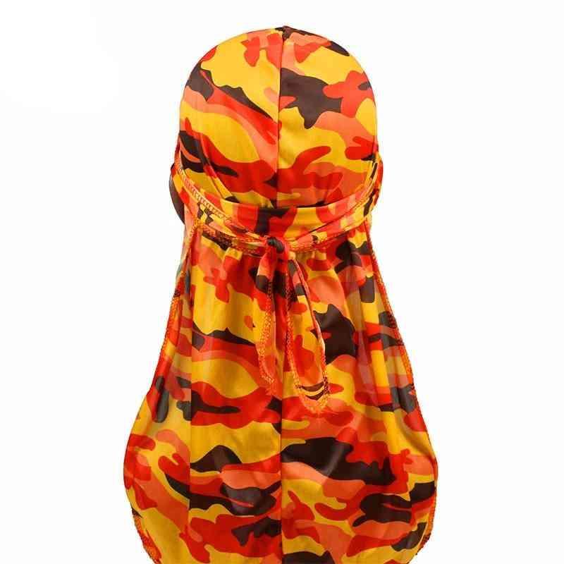 Fashion Silky Durags Turban Print Headwear Bandana Headband Hair Accessories