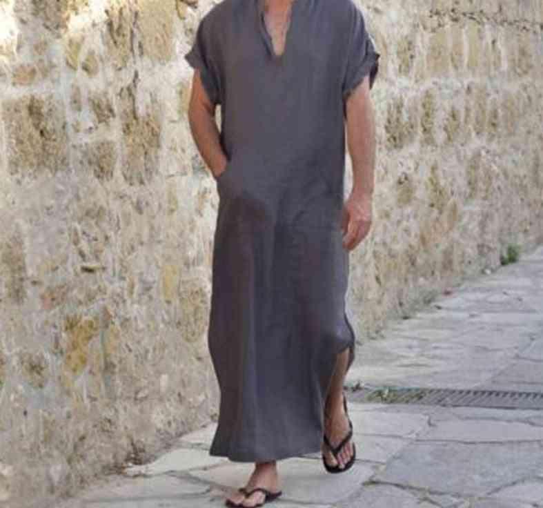 Men Vintage Style Robes, V-neck, Short Sleeve