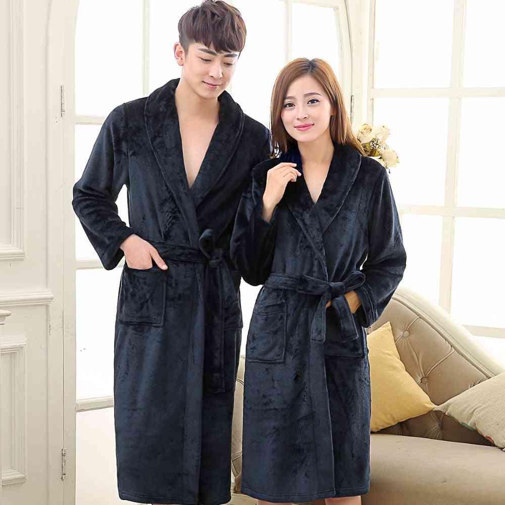 Men And Women Warm Super Soft Flannel Coral Fleece Long Bath Robe