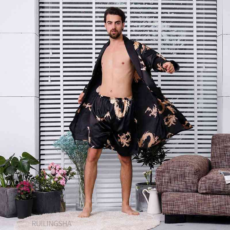 Men's Two-piece, Silk Robe With Dragons Print