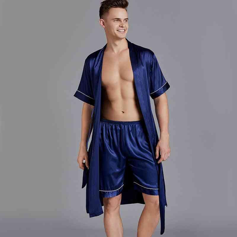 V-neck Robe, Sleepwear Kimono, Lounge Nighty, Bathrobe Gown