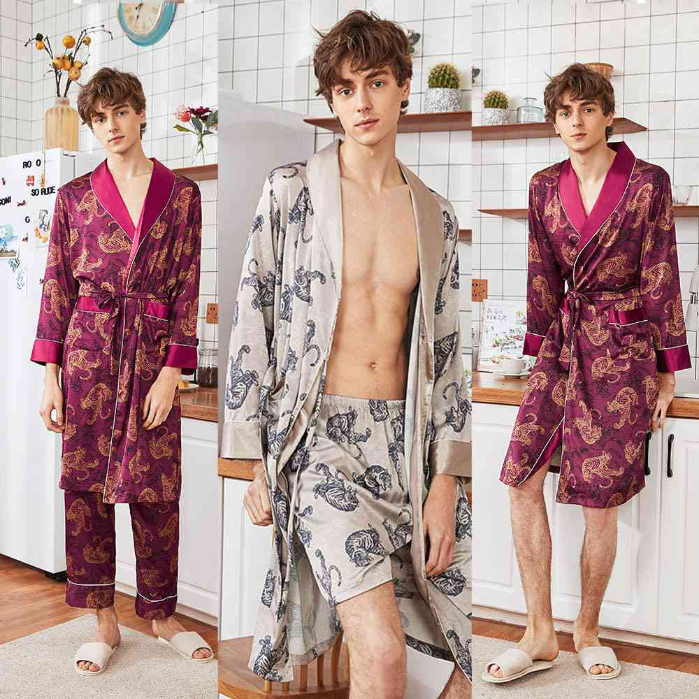 Silk Tiger Patterned, Long-sleeved, Nightgown With Belt Pajamas, Robe Sets