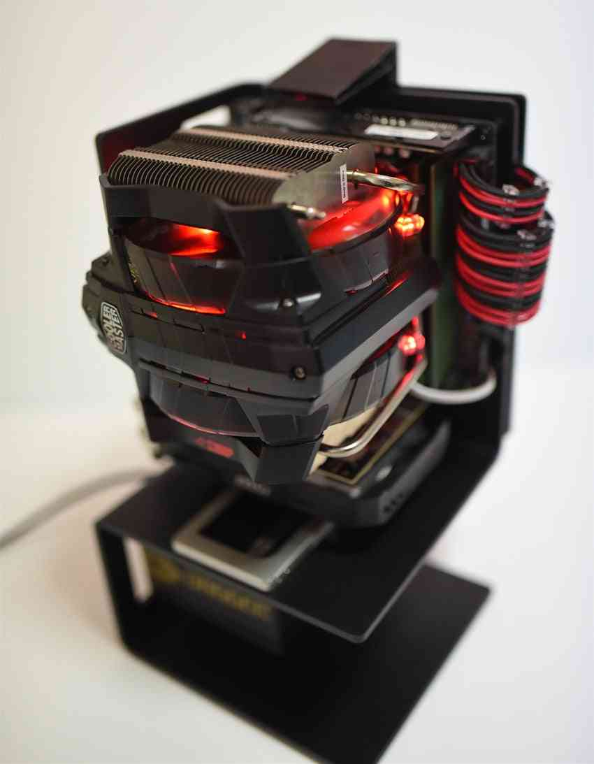Mini Itx Pc Open Air Case, Test Bench Vertical, Aluminum Alloy Frame Support Sfx Atx Power Supply Water Cooling Chassis