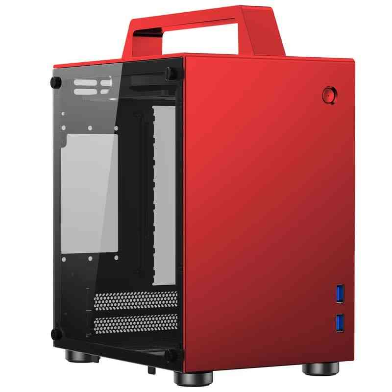 T8 Itx Portable Mini Aluminum Chassis Side, Transparent Small Computer Handle Case
