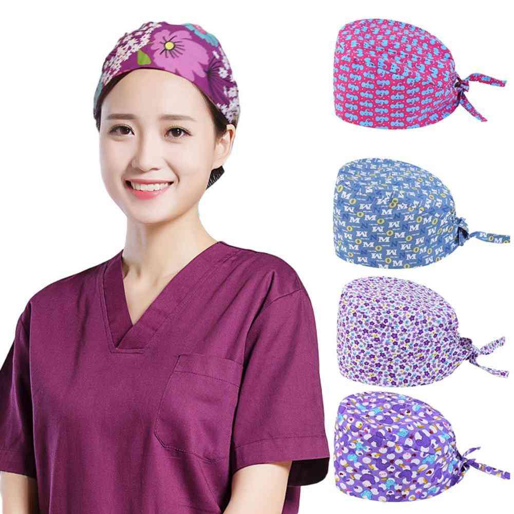 Floral Letter Print Dust Proof Chief Surgeon Scrub Restaurant Factory Work Cap, Hair Storage Hat