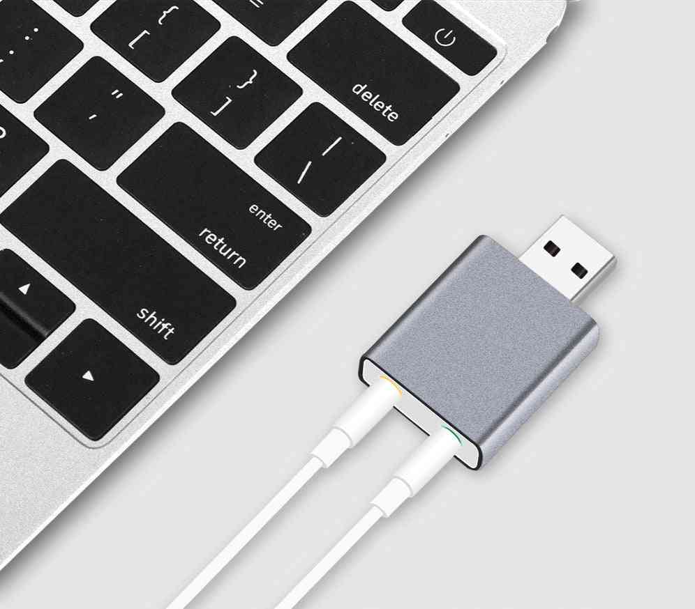Aluminum 7.1 Channel Usb External Stereo Sound Audio Adapter For Android