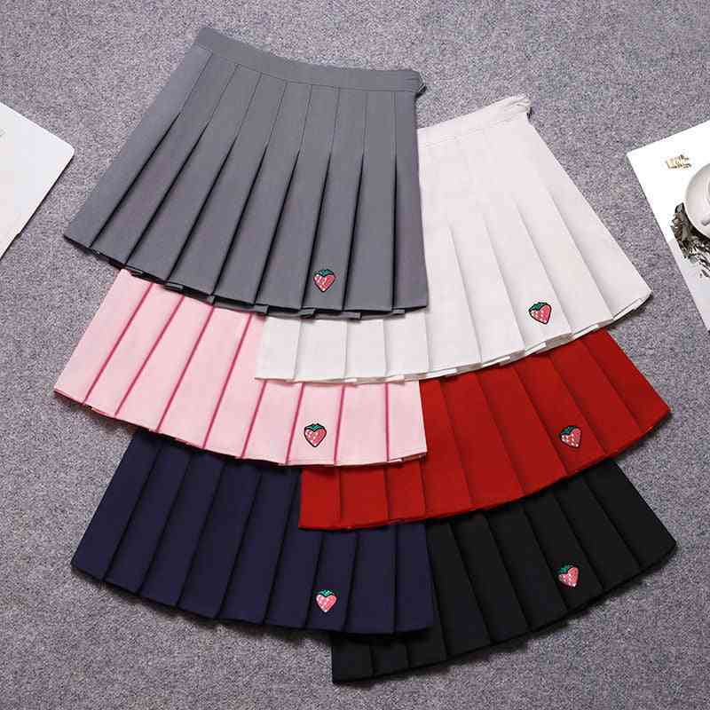 Girl Sports Tennis High Waist Strawberry Embroidery Pleated Skirt
