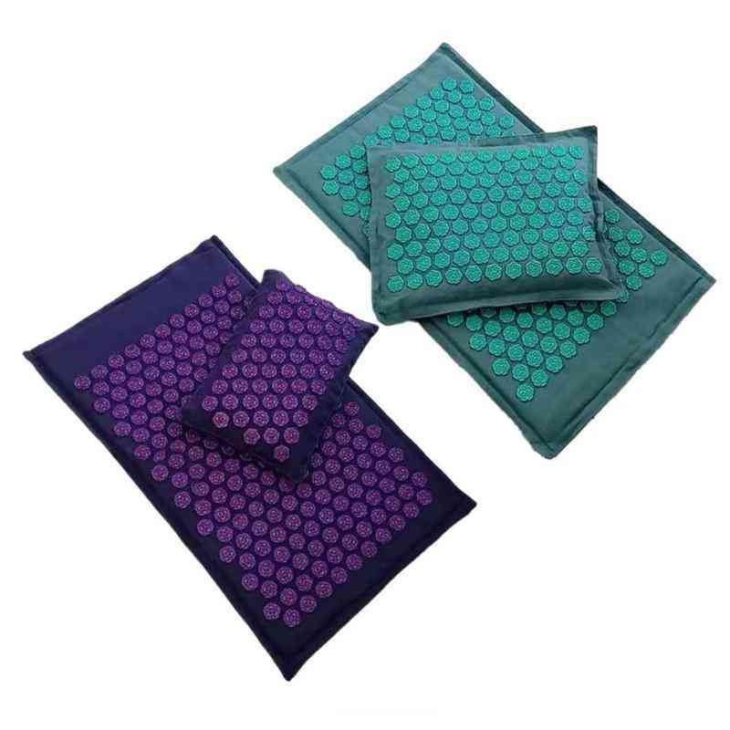 Lotus Spike Acupressure Mats Massage Pillow Set Yoga Acupuncture Cushion Relieve Neck Muscle Pain