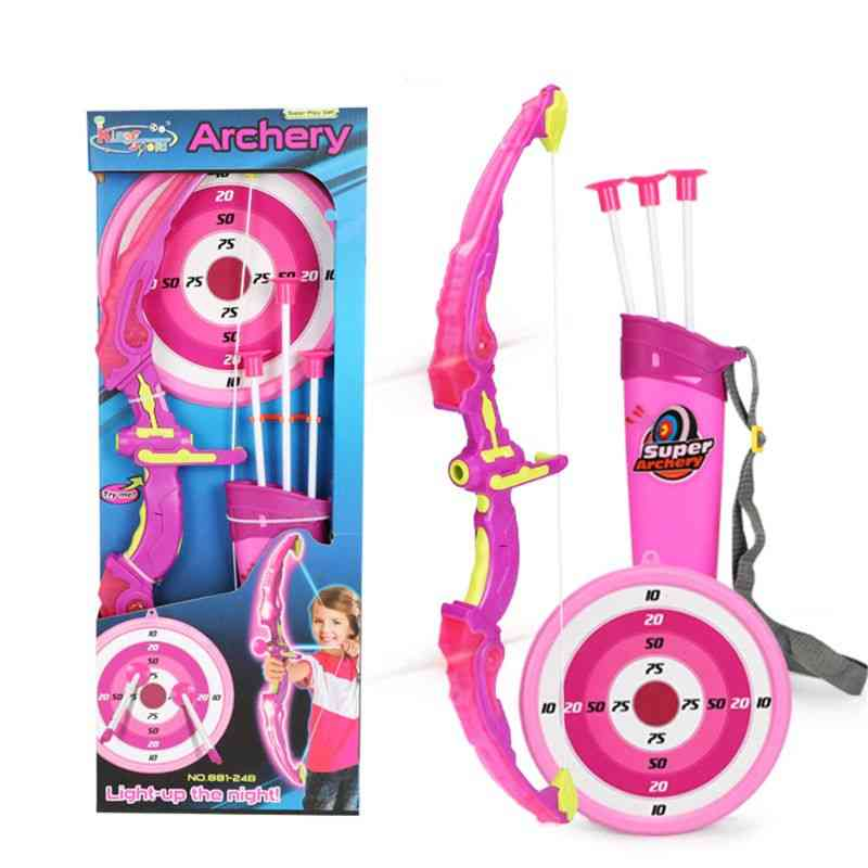 Light Up- Archery Bow & Arrow Toy Set With 3-suction Cup, Arrows Target & Quiver