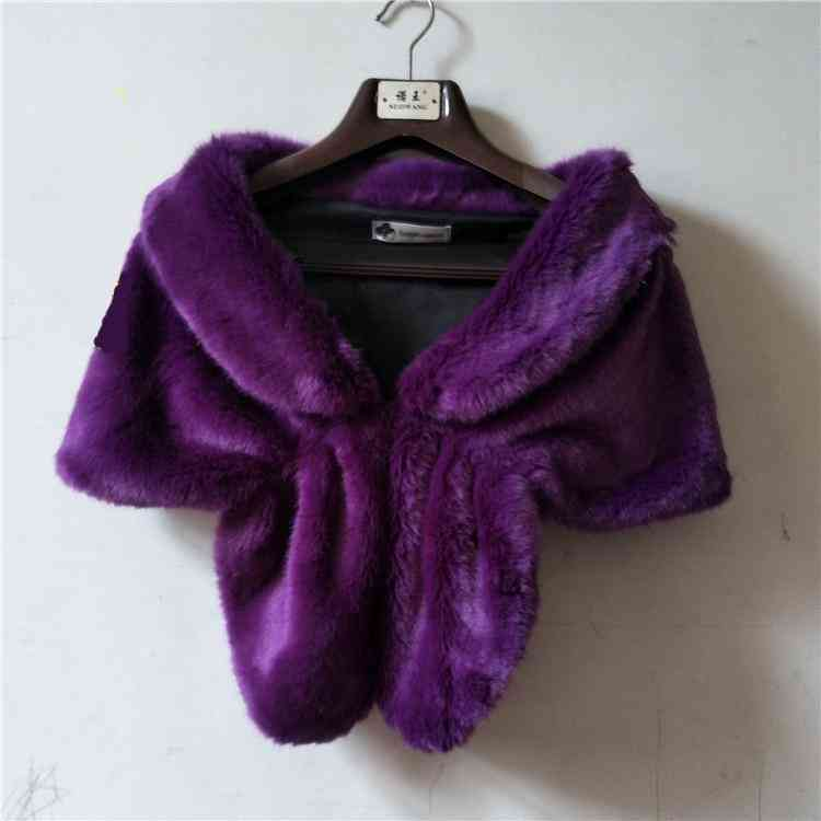Faux Fur- Wrap Shawl Cape, Stole Throw Shrug, Coat Jacket