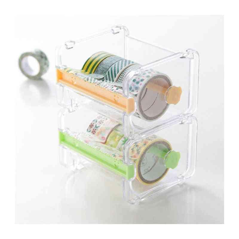 Creative Paper Cutter, Transparent Holder, Tape Dispenser