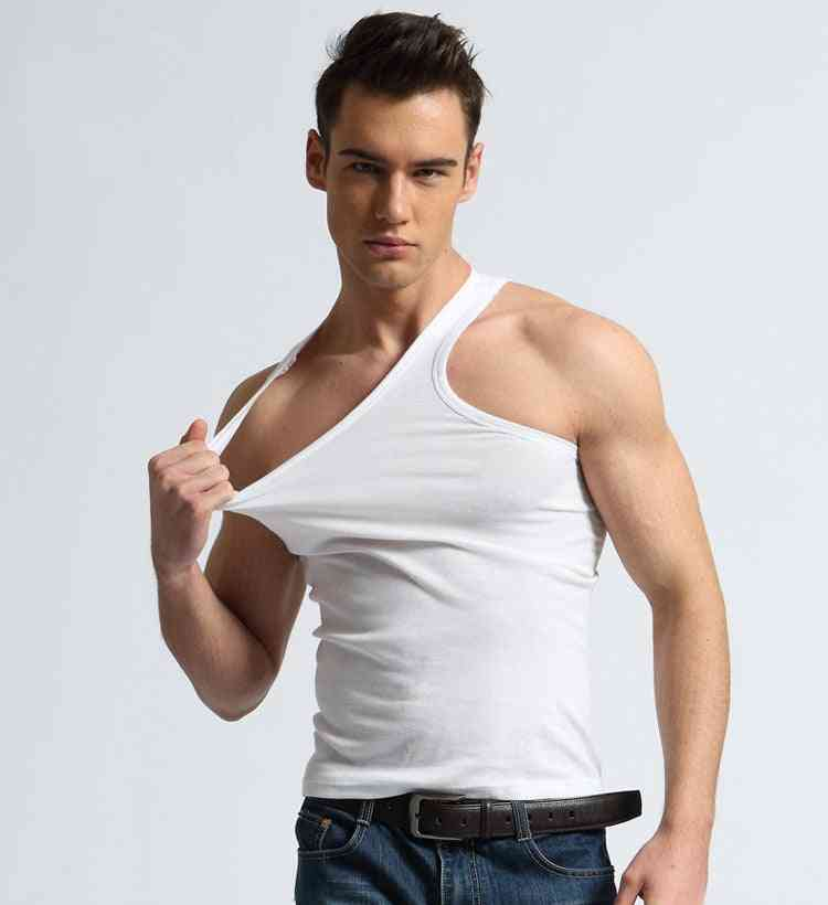 Sexy Men Undershirts Solid Color Cotton Underwear Casual Top Vest Shirt Slim For Male Bottoming