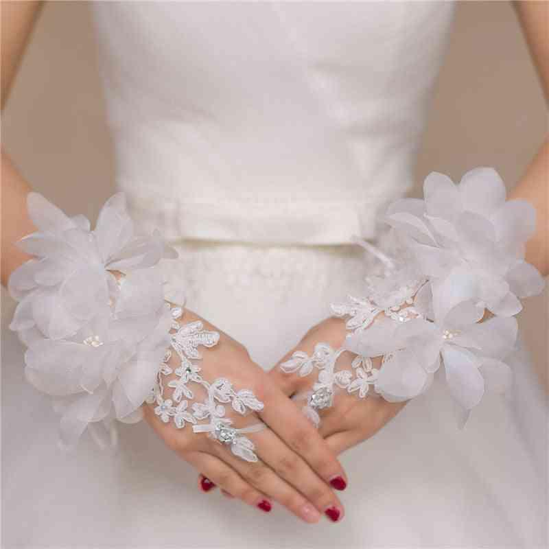 Evening Prom Accessories Gloves, Short Design, Flower Decoration Wedding Bridal Glove