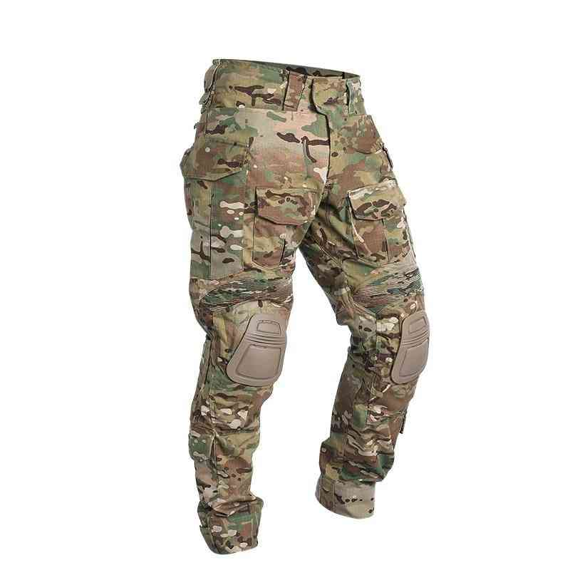 Combat Pants With Knee Pads, Airsoft Tactical Trousers Multicam Hunting Camouflage