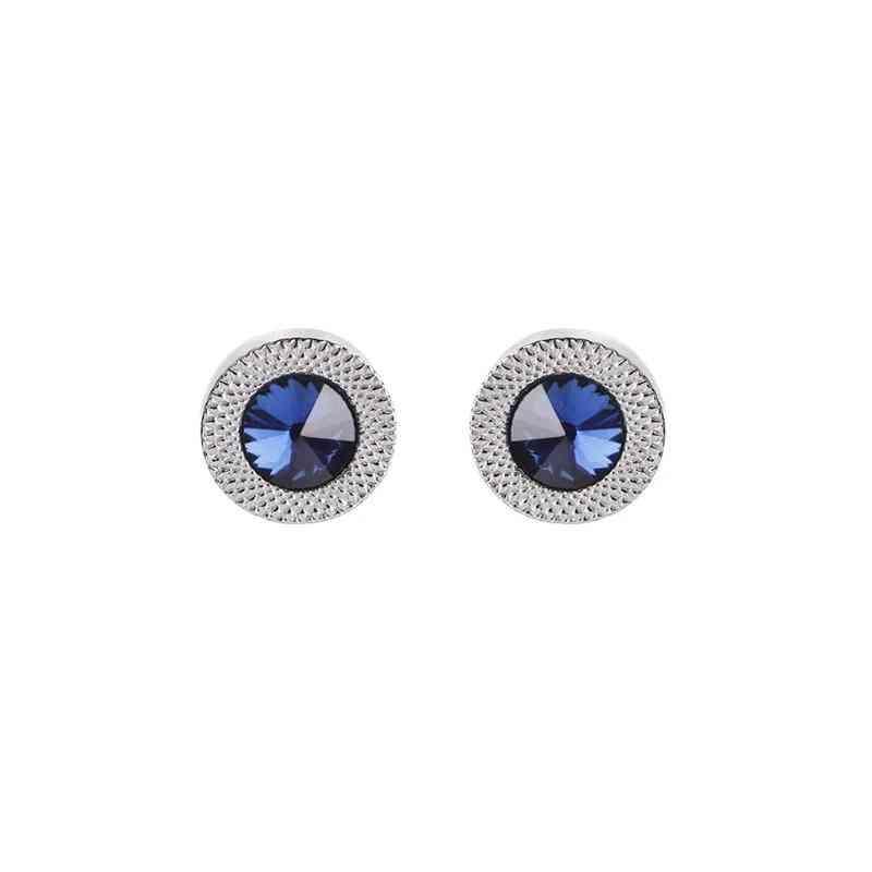 Blue Zircon Taper Crystal Fashion Wedding Cuff Links Button