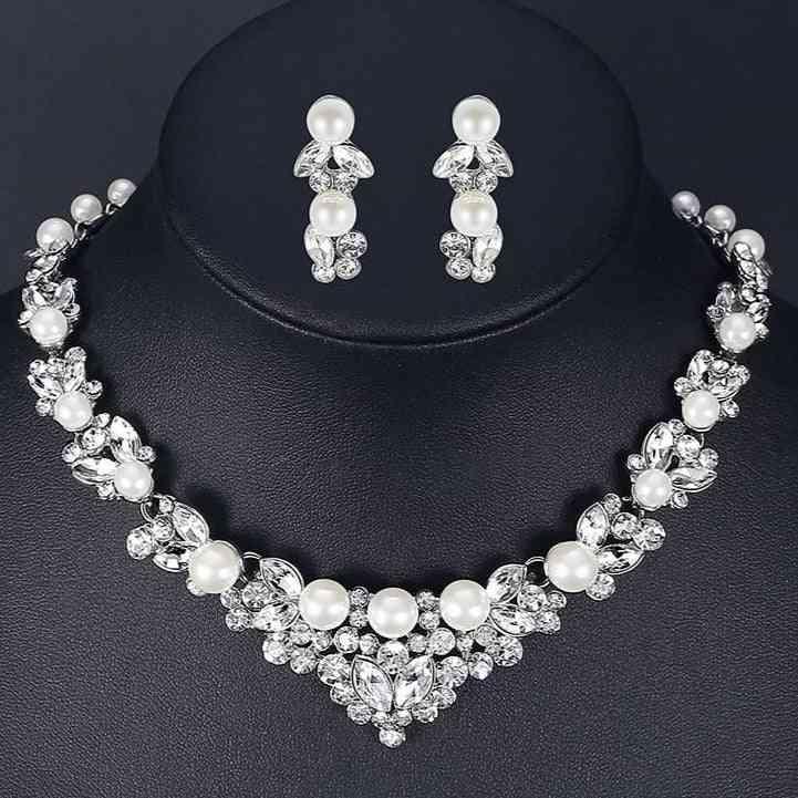 Elegant Simulated Pearl Leaf, Crystal Necklace + Earrings Set