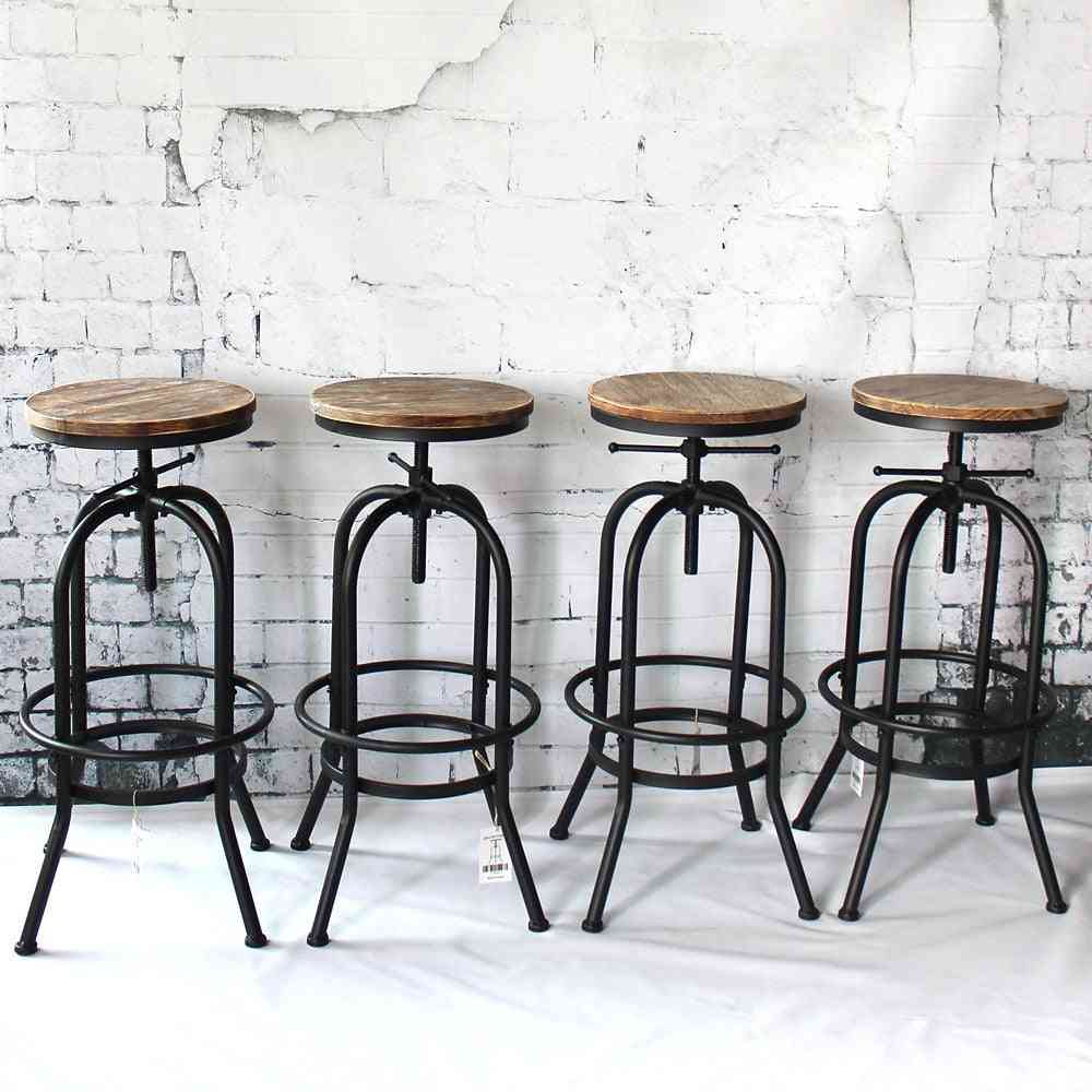 Bar Stool Industrial Style Height Adjustable Swivel Natural Pinewood Top Kitchen Dining Chair  (1pcs)