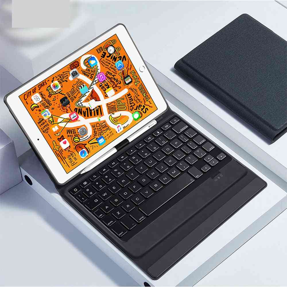 Bluetooth Wireless Keyboard Case, Smart Pu Leather Full Folio Flip Cover