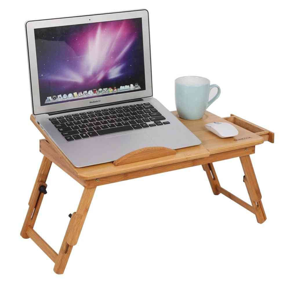 Adjustable Bamboo Desk, Shelf Dormitory Laptop Stand, Two-flowers Book Reading Table