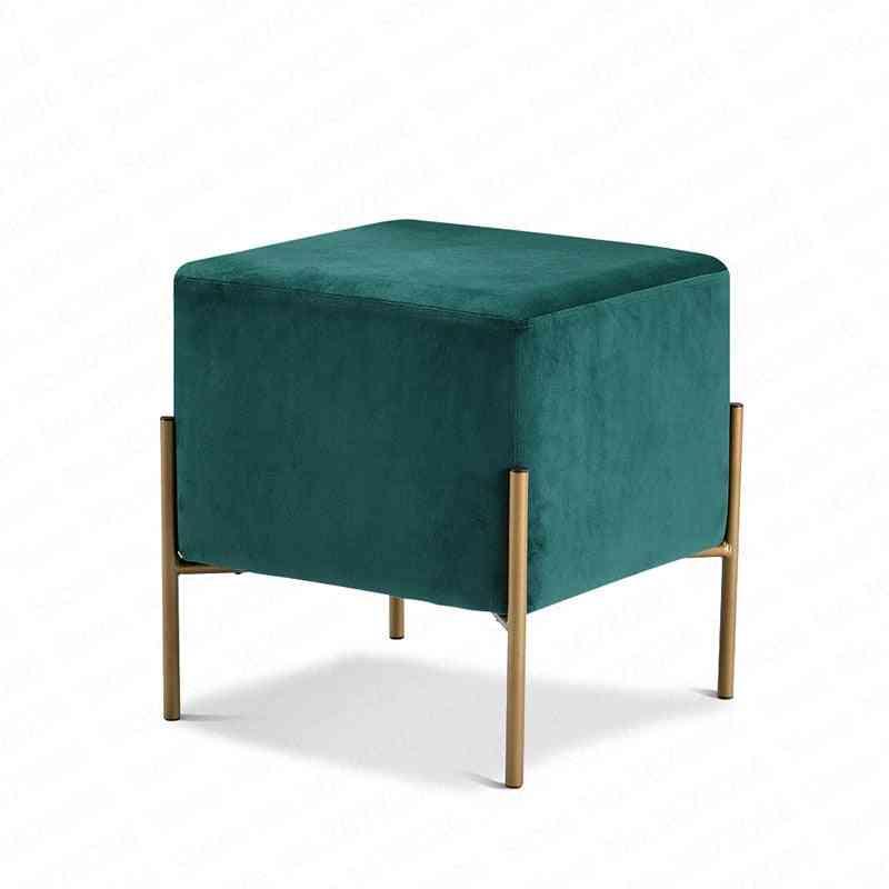 Modern Minimalist Shoe Bench Sofa Small Square Stool Footstool Living Room Fabric
