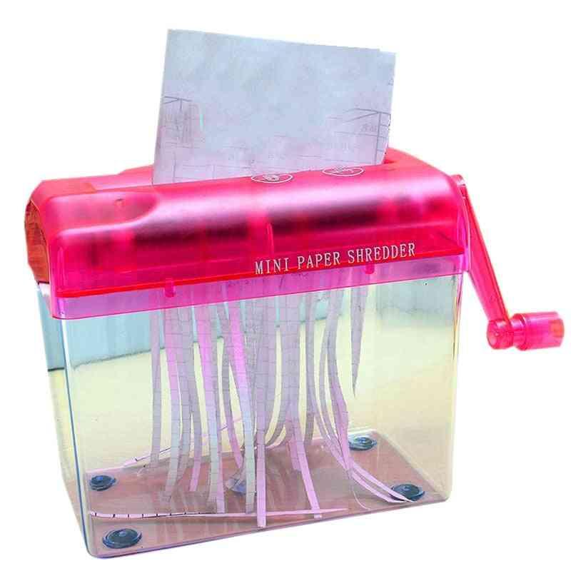 Mini Hand Portable A6 Manual Shredder & Documents Paper Cutting Tool, Desktop Stationery