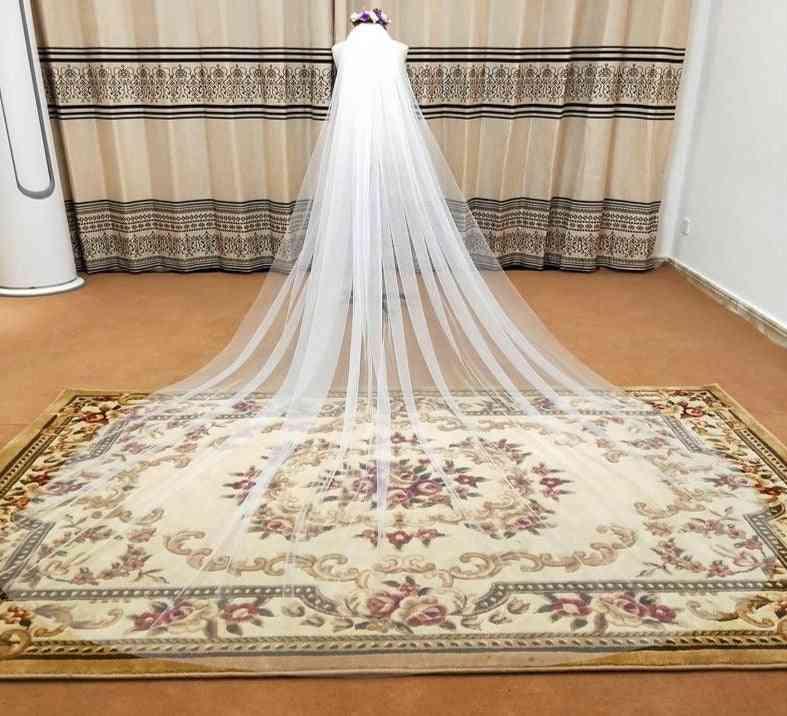 Elegant Wedding- Soft Long, Comb 1-layers, Bridal Veils