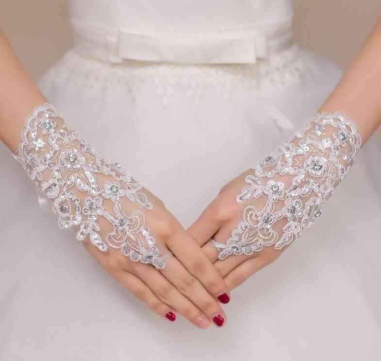 Elegant Beaded Bridal Gloves