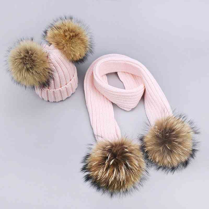 Girl Pompon Hats And Scarves Sets, Winter Knitted Warm Nature Fur Hat, Scarf Thick, Beanies Caps