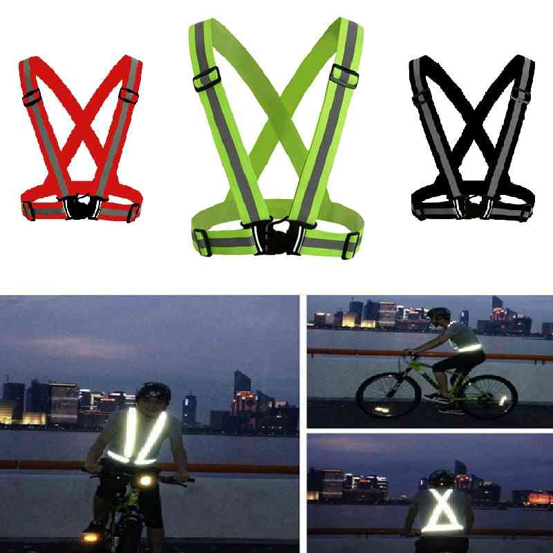 Reflective Vest High Visibility Unisex Outdoor Running Cycling Adjustable Elastic Strap Fluorescence