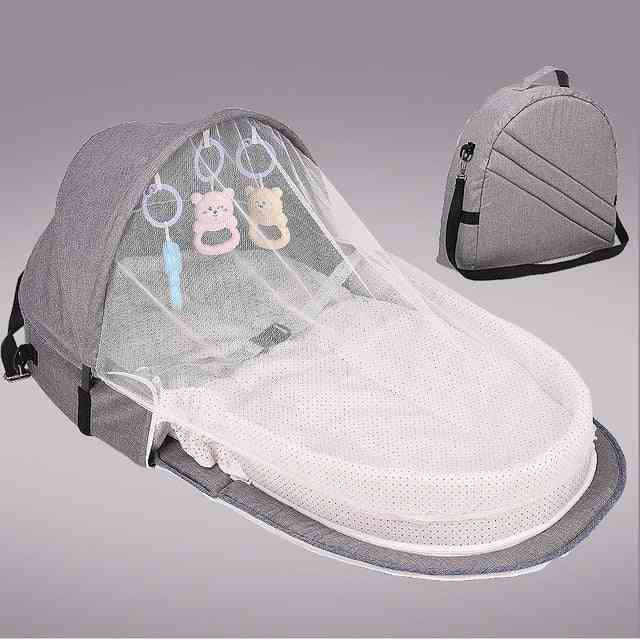 Baby Portable Mobile Crib Cot Newborn Folding Bed, Foldable Chair With