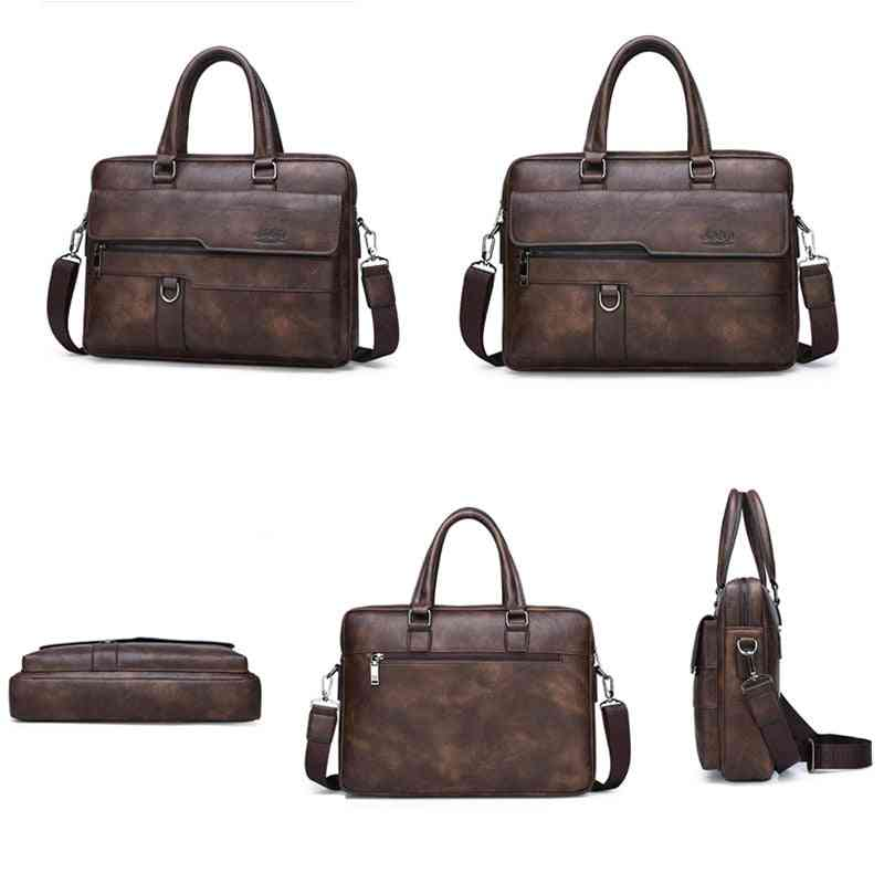 Business Briefcase Bag Split Leather Office Bags For 14 Inch Laptop A4 File Causel Male