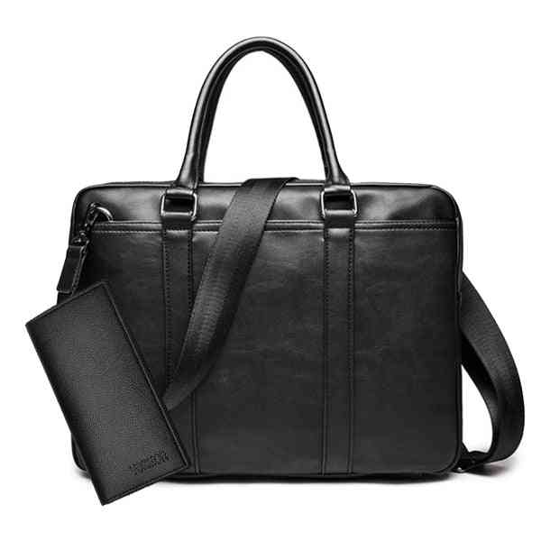 Promotion Simple Famous Brand Business Briefcase Bag Luxury Leather Laptop And Shoulder Bag